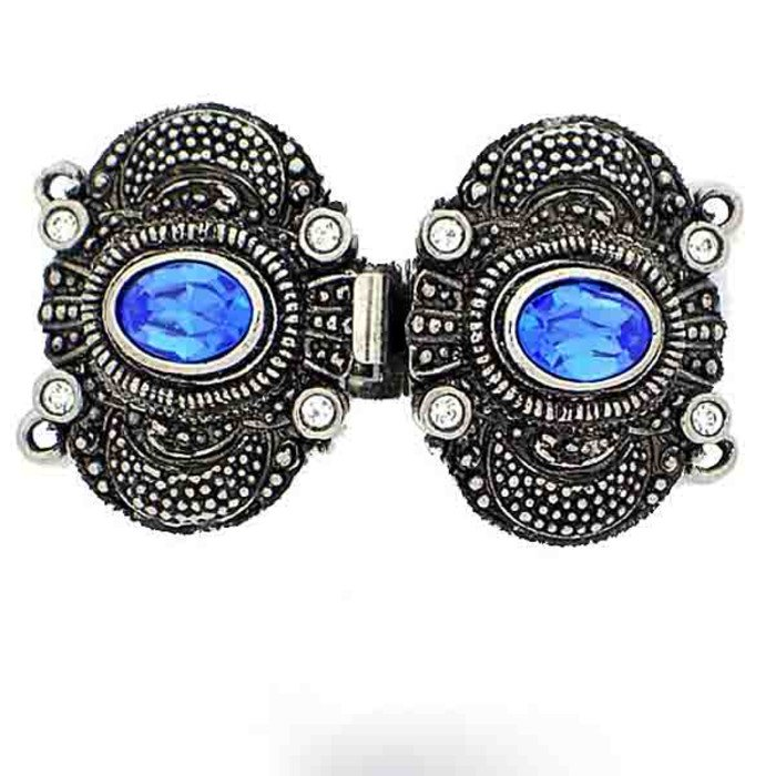 Clasp with 2 rows and spring tongue mechanism; Colour of the stones in the center: Sapphire