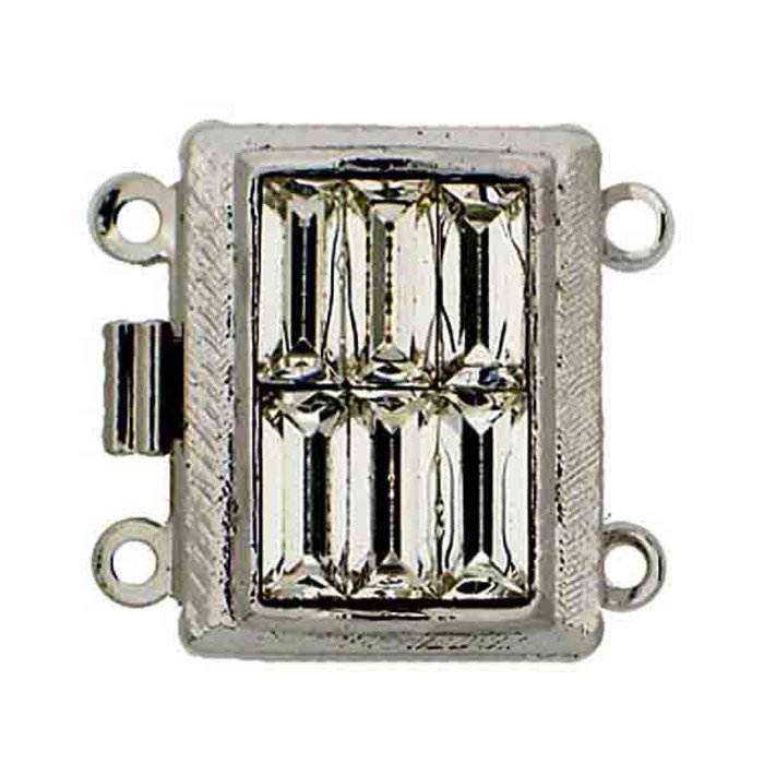 art deco box clasp 2 strands with Swarovski crystal baguettes
