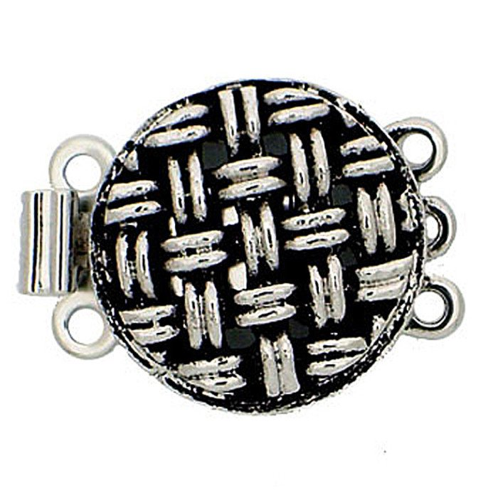 metal clasp with 3 rows and spring tongue mechanism