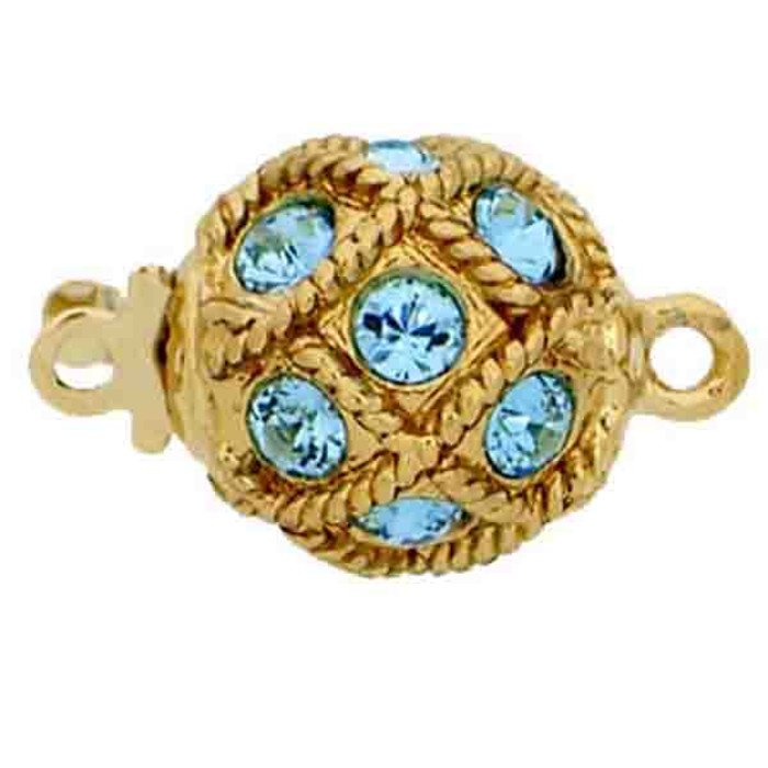 Ball clasp with springtongue mechanism color: aquamarine