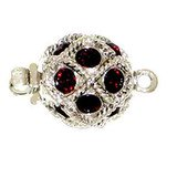 Ball clasp with springtongue mechanism color: siam (dark red) 13572-01-06-00-208