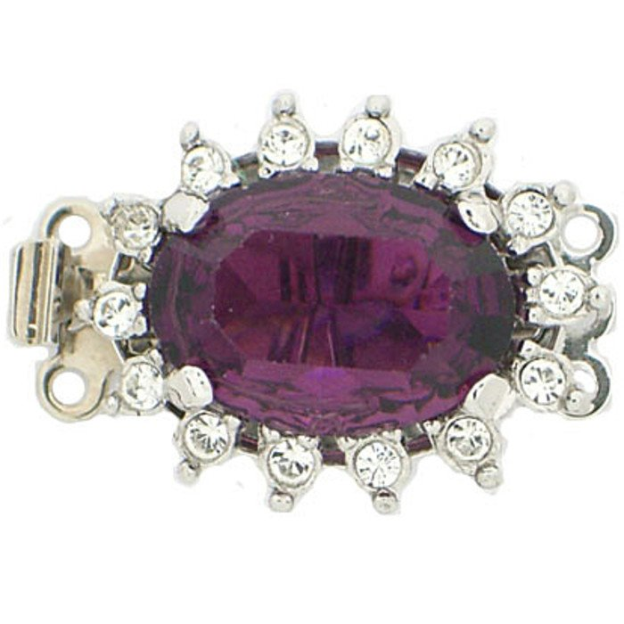 Clasp with 3 rows and spring tongue mechanism; Colour of the stone in the center: Amethyst