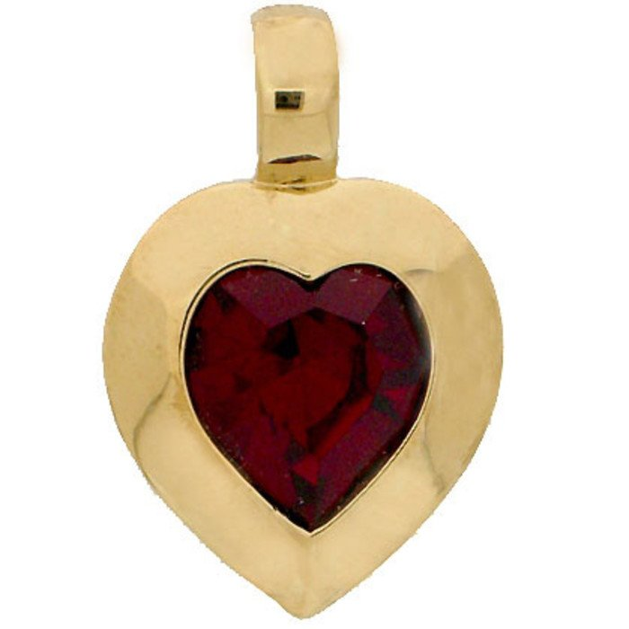 Heart pendant with a 15,4 x 14 mm crystal in siam.