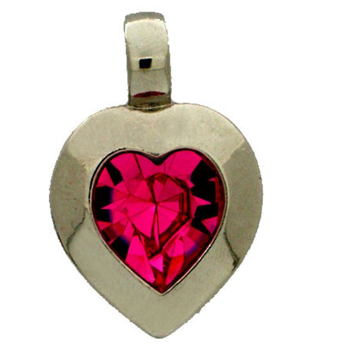 Heart pendant with a 15,4 x 14 mm crystal in rose.