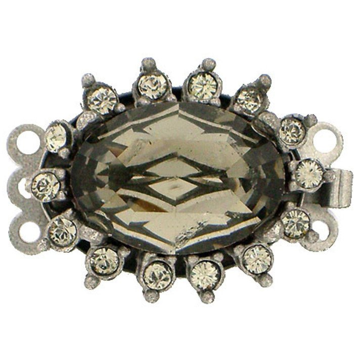 Clasp with 3 rows and spring tongue mechanism; Colour : Black Diamond