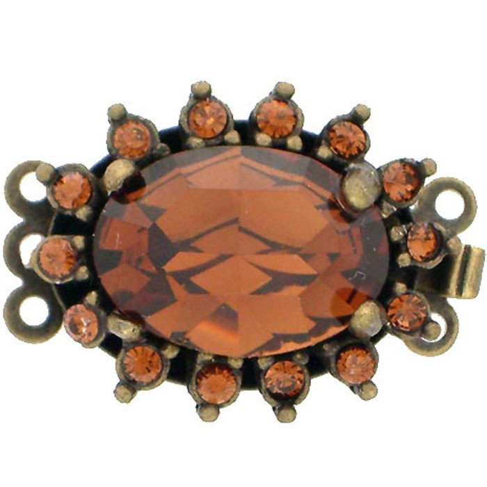 Clasp with 3 rows and spring tongue mechanism; Colour : Smoked Topaz
