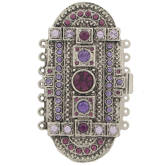 clasp with 7 rows and spring tongue mechanism; Colours of Crystals:amethyst, tanzanite, violet