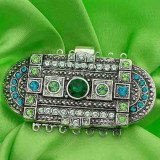 clasp with 7 rows and spring tongue mechanism; Colours of Crystals: emerald, erinite, blue zircon, peridot, chrysolit