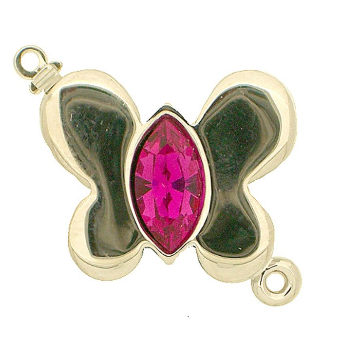 clasp with spring tongue mechanism; Colours of Crystals: fuchsia