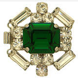 Historical German Rhinestone Clasp with 3 rows and springtongue mechanism; colour of stone in the middle: emerald 13232-03-06-00-a13