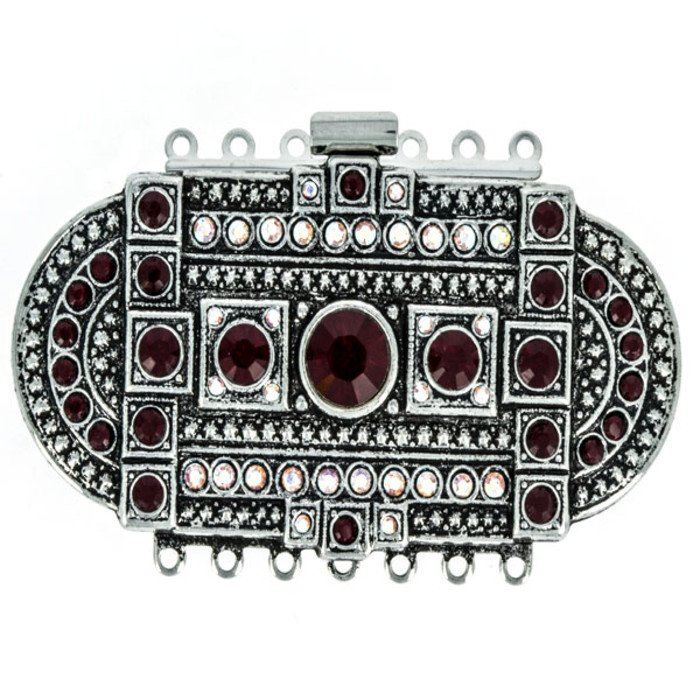Striking and beautiful clasp in a vintage look,  with 7 rows and spring tongue mechanism; Colours of Crystals: siam, crystal AB