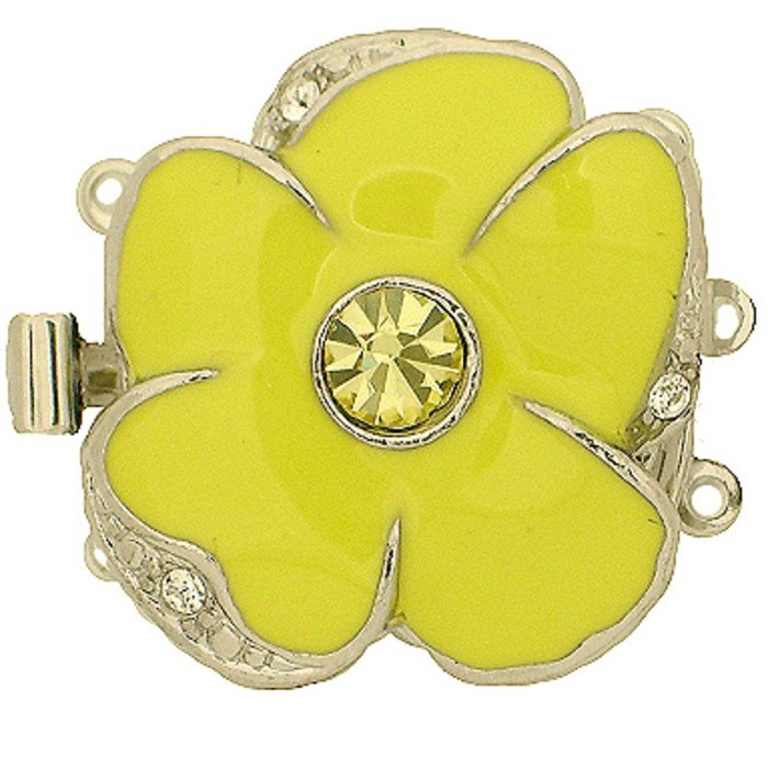 3 rows clasp with spring tongue mechanism;  Colour of the middlestone: jonquil; Colour of enamel: yellow