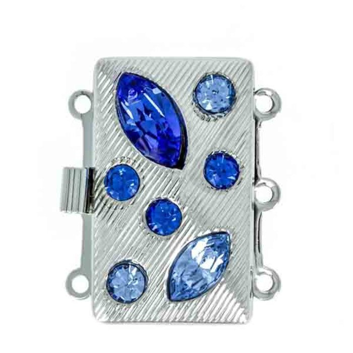 3 rows clasp with spring tongue mechanism; Colours of the stones: sapphire, light sapphire
