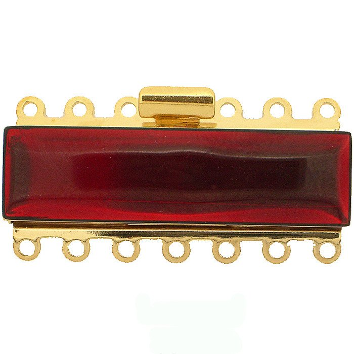 7 rows enamelled box clasp with spring tongue mechanism; Colour: transparent red