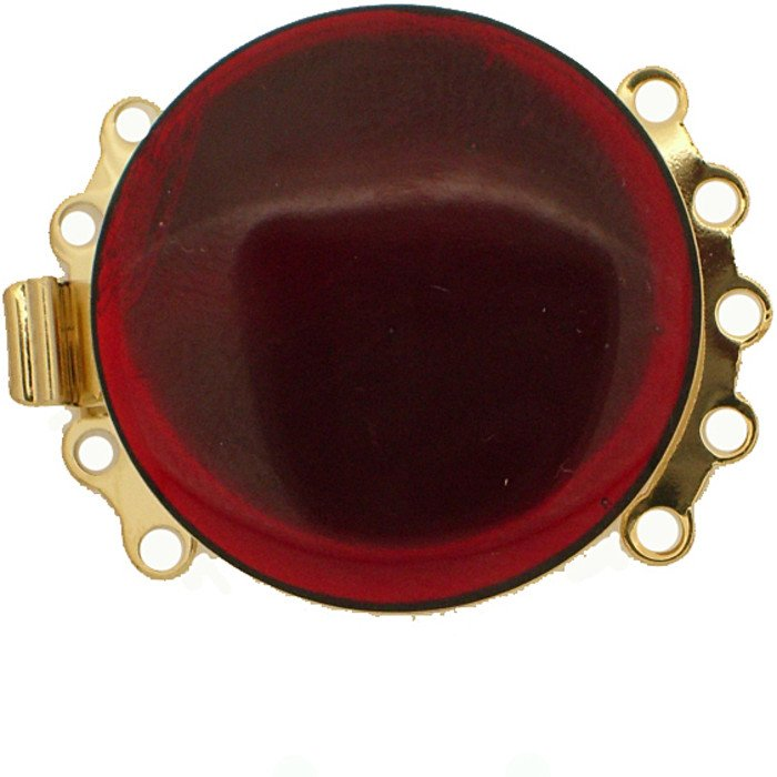 5 rows enamelled clasp with spring tongue mechanism; Colour: transparent red
