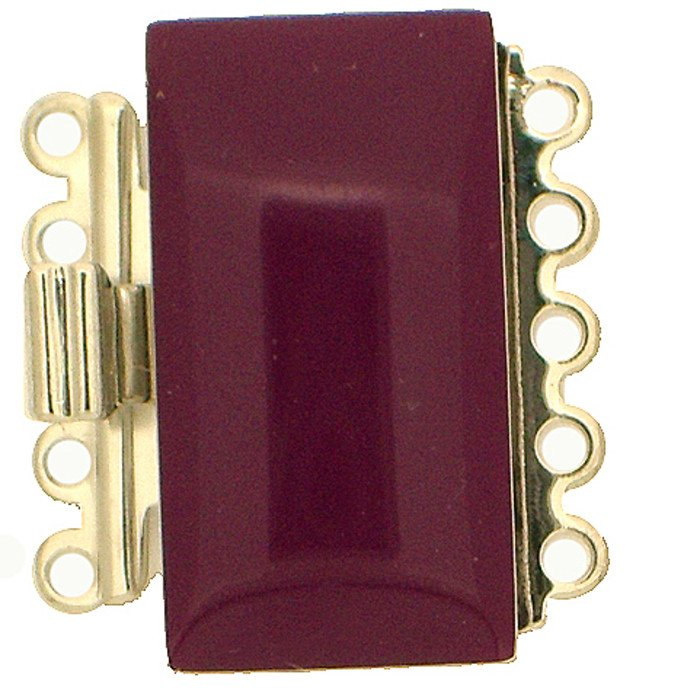 5 rows enamelled clasp with spring tongue mechanism; Colour: lilac-fuchsia
