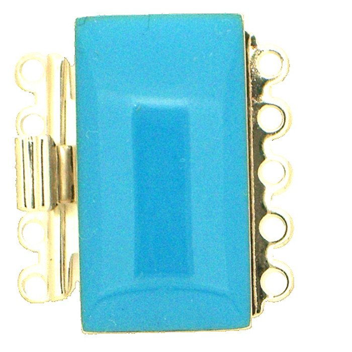5 rows enamelled clasp with spring tongue mechanism; Colour:  turquoise