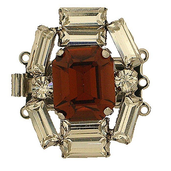 Historical German Rhinestone Clasp with 3 rows and springtongue mechanism; colour of stone in the middle: smoked topaz