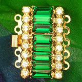 Historical German Rhinestone Clasp with 5 rows and springtongue mechanism; colour of stone in the middle: emerald
