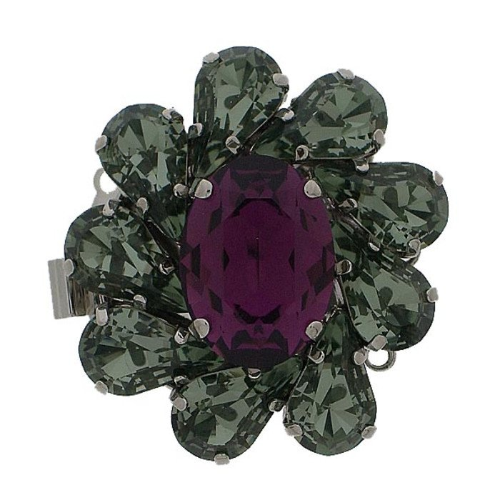 Clasp with 3 rows and springtongue mechanism colour of stones: black diamond , amethyst