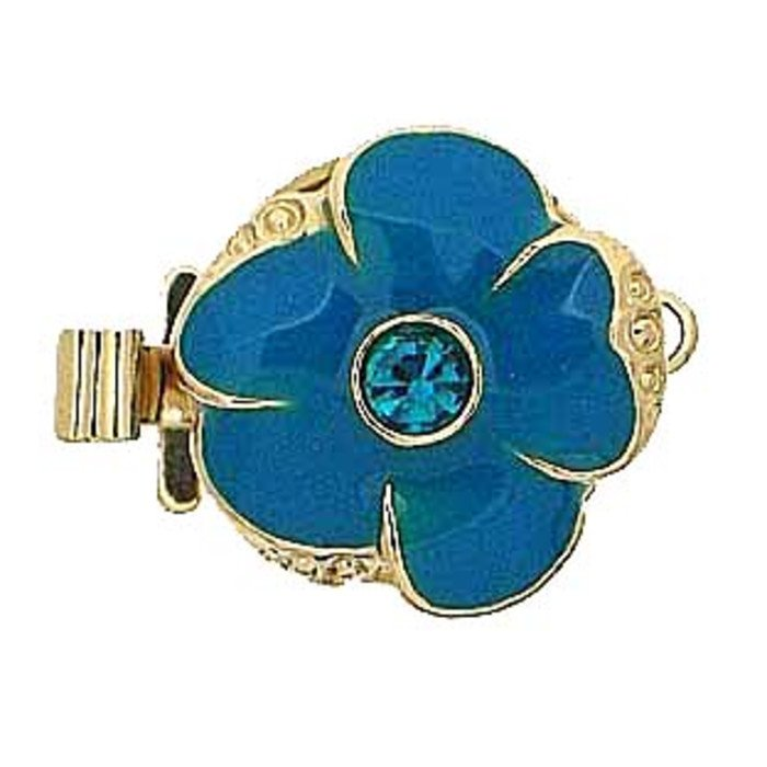 1 row clasp with spring tongue mechanism;  Colour of the middlestone:blue zircon Colour of enamel:ocean