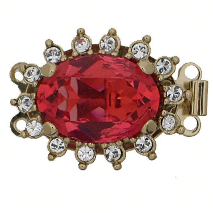 Clasp with 2 rows and spring tongue mechanism; Colour of the stone in the center: padparadscha