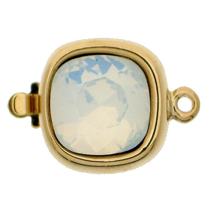 Clasp with spring tongue mechanism; Colour of the stone: white opal