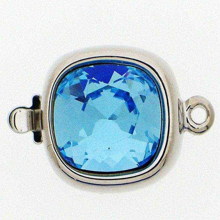 Clasp with spring tongue mechanism; Colour of the stone: Aquamarine