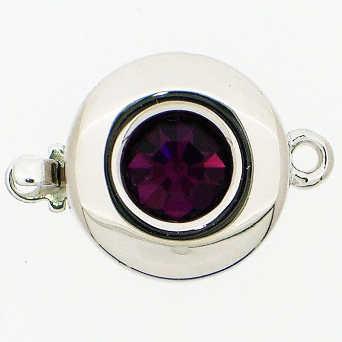 Clasp with spring tongue mechanism; Colour of the stone: Amethyst