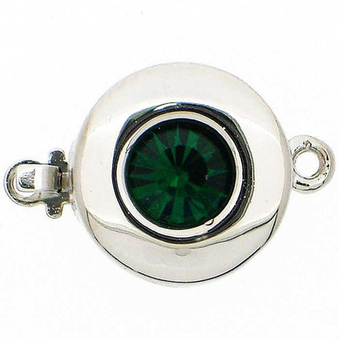 Clasp with spring tongue mechanism; Colour of the stone: Emerald