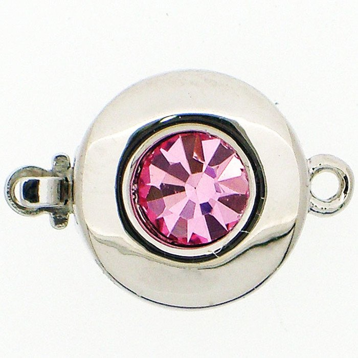 Clasp with spring tongue mechanism; Colour of the stone: Light rose