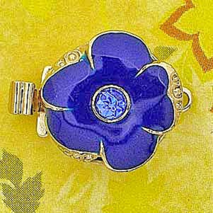 1 row clasp with spring tongue mechanism;  Colour of the middlestone:sapphire; Colour of enamel: royal blue