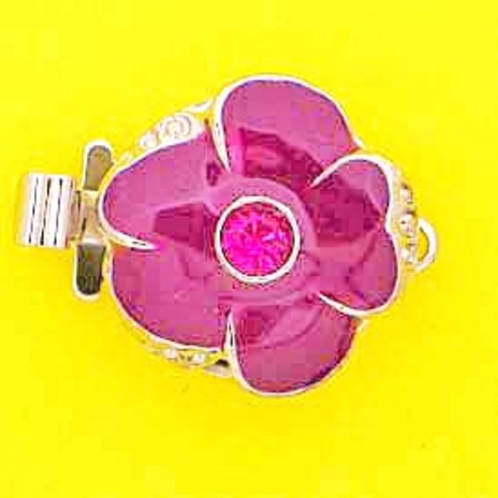 1 row clasp with spring tongue mechanism;  Colour of the middlestone:fuchsia Colour of enamel:fuchsia