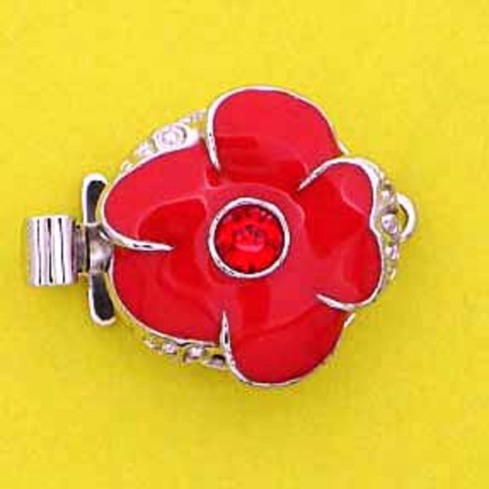 1 row clasp with spring tongue mechanism;  Colour of the middlestone:light siam Colour of enamel:light red