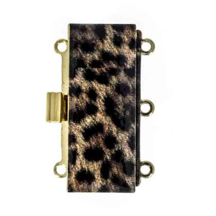 Clasp with spring tongue mechanism; foil printed in a leopard-look and fixed with a protection Lacquer