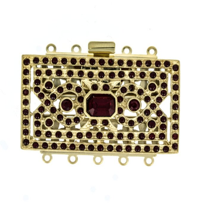 art deco multistranded box clasps with with Swarovski crystals