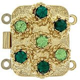 box clasp for 2 strands colour of crystals: peridot, emerald