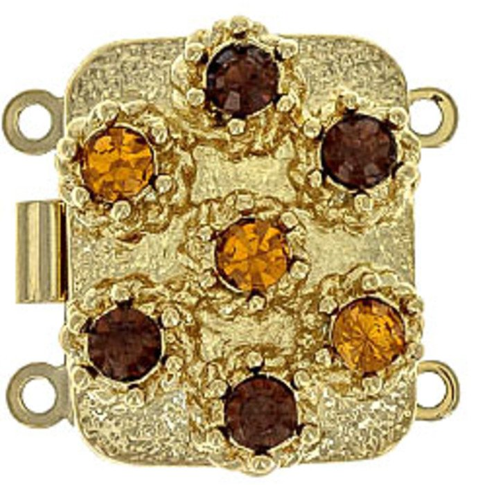box clasp for 2 strands colour of crystals: topaz, smoked topaz