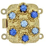 box clasp for 2 strands colour of crystals:light sapphire, sapphire 12131-02-01-00-a26