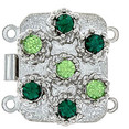box clasp for 2 strands colour of crystals: peridot, emerald 12131-02-06-00-a05