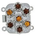 box clasp for 2 strands colour of crystals: topaz, smoked topaz 12131-02-06-00-a25