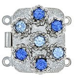 box clasp for 2 strands colour of crystals:light sapphire, sapphire 12131-02-06-00-a26
