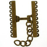 Clasp with 9 rows and 3 cm prolongation chaine; Length of the shanks 30 mm;  width of the clasp from 23 mm up to max. 53 mm;