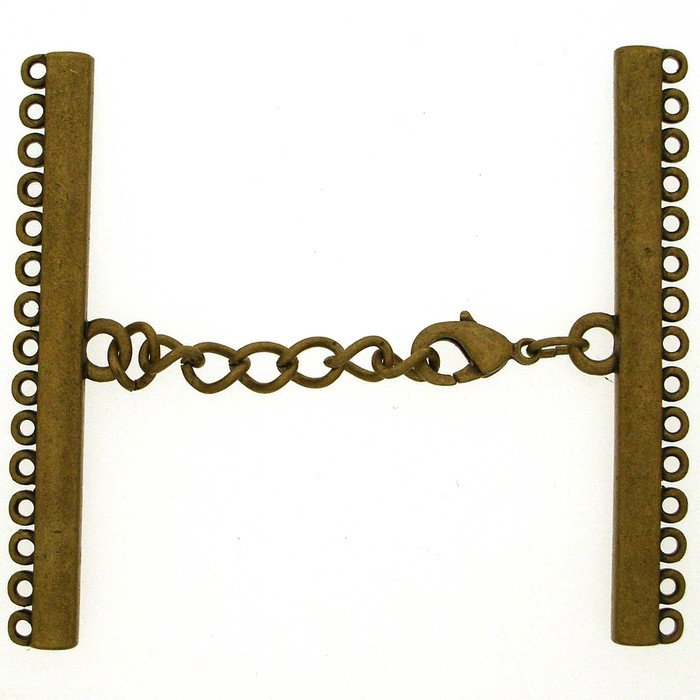 Clasp with 15 rows and 3 cm prolongation chaine; Length of the shanks 55 mm;  width of the clasp from 35mm up to max. 65mm