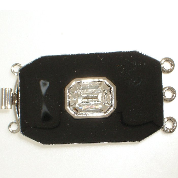 3 row clasp with spring tongue mechanism; black enamelled