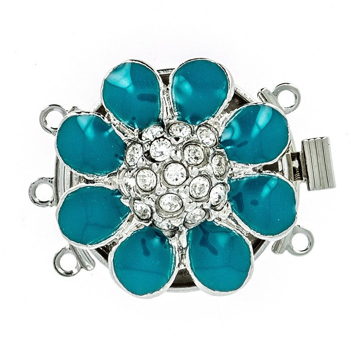 3 rows enamelled clasp with spring tongue mechanism; Colour: ocean