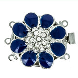 3 rows enamelled clasp with spring tongue mechanism; Colour: royal blue