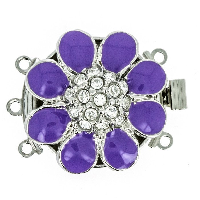 3 rows enamelled clasp with spring tongue mechanism; Colour: Lila