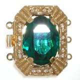Clasp with 3 rows and spring tongue mechanism; Crystal colour emerald 205