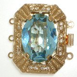 Clasp with 3 rows and spring tongue mechanism; Crystal colour aquamarine 202